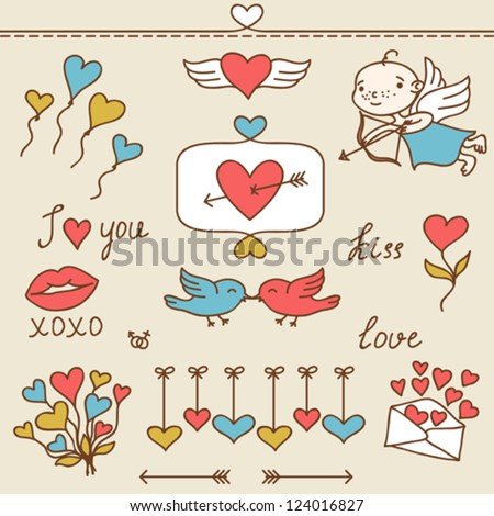 Set of Valentine's cute doodles and design elements. - stock vector