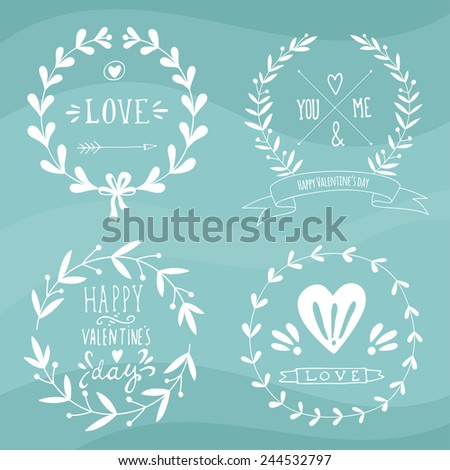 Set of Valentine's day and wedding wreaths and other design elements. EPS 10. - stock vector