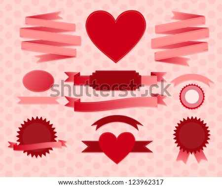 Set of valentine's day ribbons and labels. Vector background - stock vector