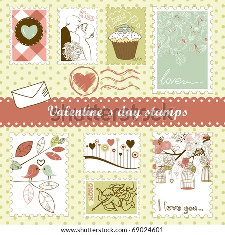 set of valentine`s day stamps - stock vector