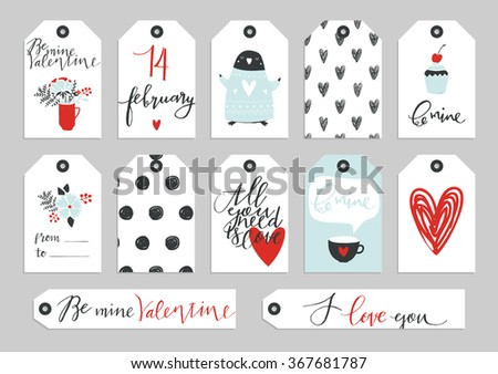 Set of Valentine's Day typographic gift tags and labels in gold. For greeting card, poster, menu, party invitation, social media, web banner, gift wrapping paper, planner, diary, notes. - stock vector