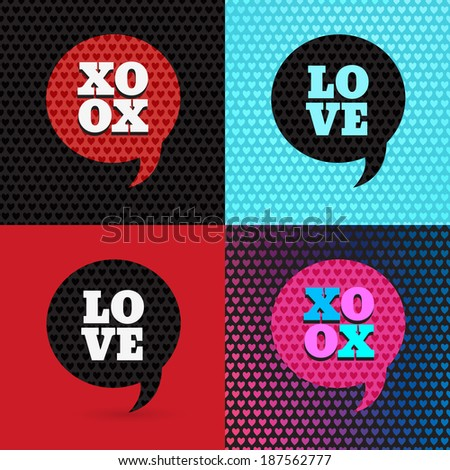 Set of 4 valentines day illustrations and typography elements. Backdrop patterns are seamless. I love you. XOXO. Greeting card. - stock vector