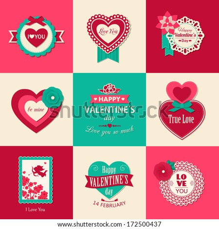 Set of Valentines day typographical backgrounds with paper hearts, ribbons and flowers. This vector illustration can be used as greeting card or wedding invitation for your design. - stock vector