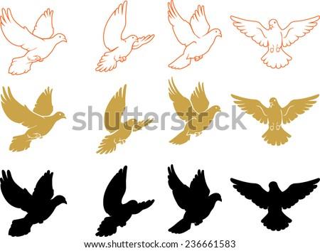 Set of Varied Doves Flying - stock vector