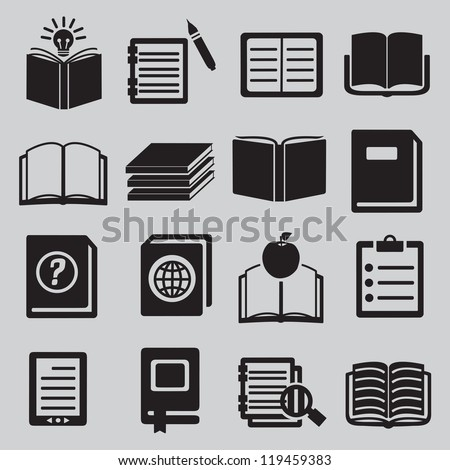 Set of  various books - vector icons - stock vector