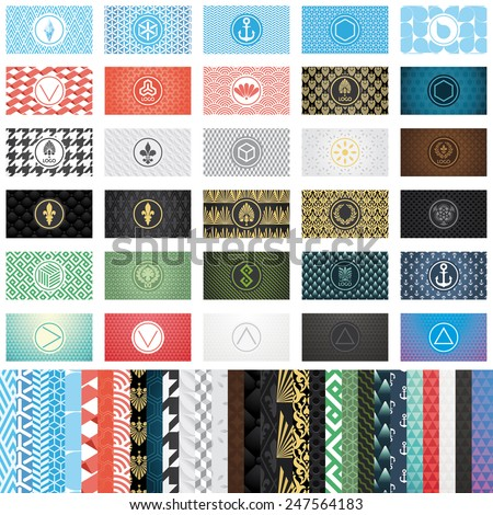Set of 30 various business card templates with patterns and round frames vector - stock vector