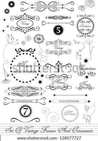 set of various calligraphic vector elements, decorations and frames in vintage style - stock vector