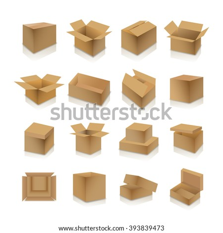 Set of various cardboard boxes with shadow and mirror reflection isolated on white background, vector illustration. - stock vector