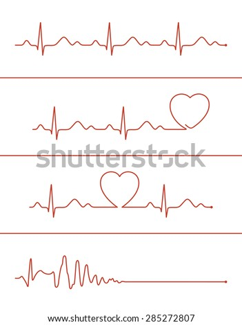 Set of various cardiogram design elements. Cardiogram lines of healthy heart and heart stop - stock vector