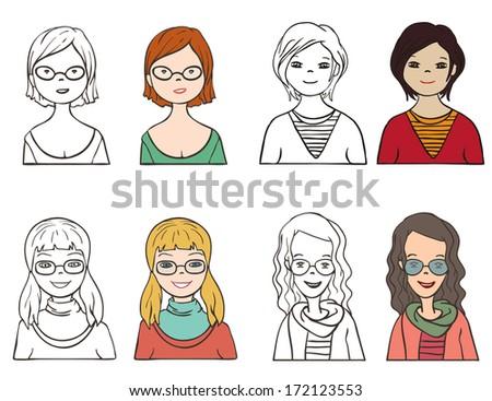 Set of various cartoon faces, illustration  - stock vector