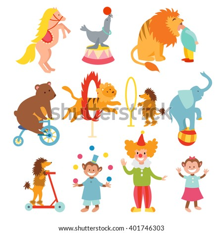 Set of various circus elements, people, animals and decorations. Circus entertainment animals, adorable clowns icons set. Cute circus animals and funny clowns collection vector illustration. - stock vector