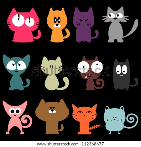 Set of various colorful funny cats - stock vector