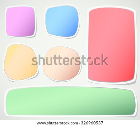 Set of various colors note papers on gray background - stock vector