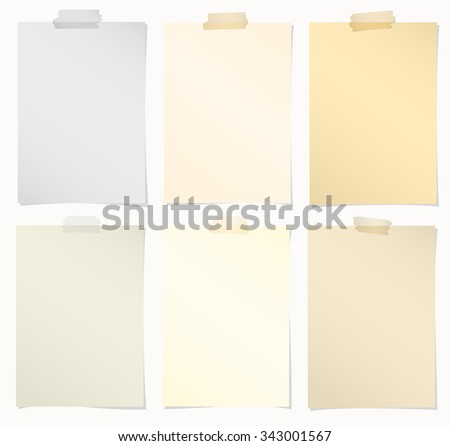 Set of various colors note papers with adhesive tape on white background - stock vector