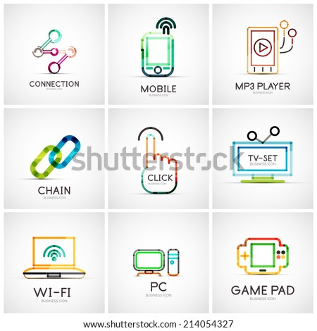 Set of various company logos, business icons. Connection chain mobile phone mp3 player click hand finger pointer tv set wifi pc laptop gamepad - stock vector