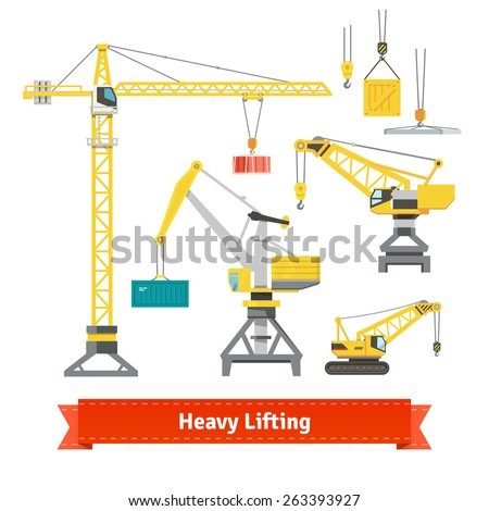 Set of various cranes doing heavy lifting. Tower and harbor lifters. Flat style vector icons. - stock vector