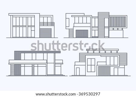 Set of various design vector linear modern private residential houses isolated on light background. Detailed graphic symbols and elements collection - stock vector