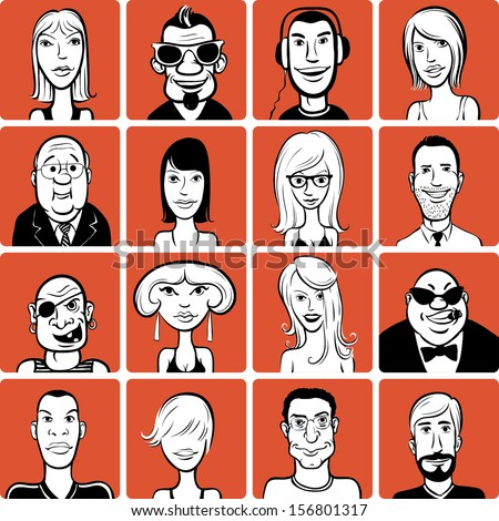 Set of various doodle faces - stock vector