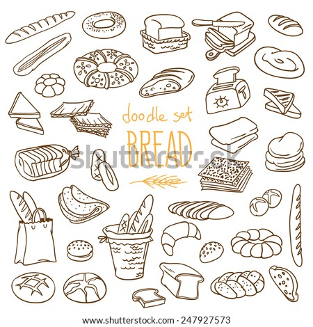 Set of various doodles, hand drawn rough simple sketches of different kinds of bread. Vector freehand illustration isolated on white background. - stock vector