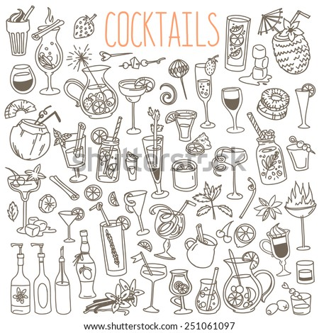 Set of various doodles, hand drawn rough simple sketches of various kinds of cocktails and soft drinks. Vector freehand illustration isolated on white background. - stock vector