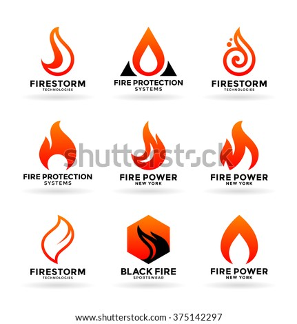 Set of various fire symbols and logo design elements (3) - stock vector