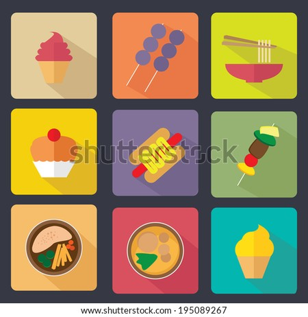 set of various food flat icon - stock vector