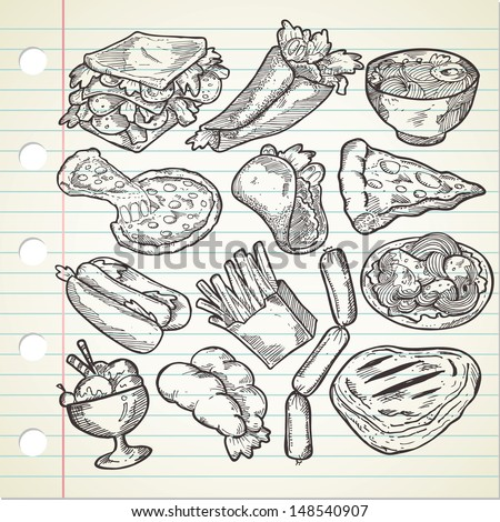 Set of various food in sketchy style - stock vector