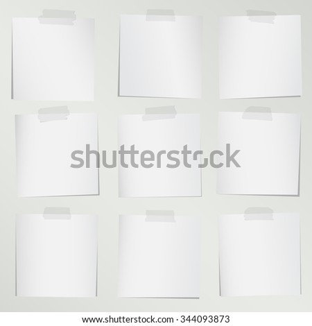 Set of various gray note papers on background - stock vector