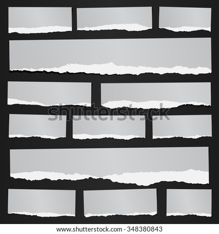 Set of various gray recycled torn grainy note papers on black background - stock vector