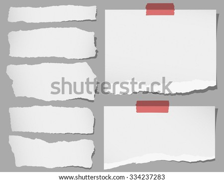 Set of various gray torn note papers with adhesive tape - stock vector