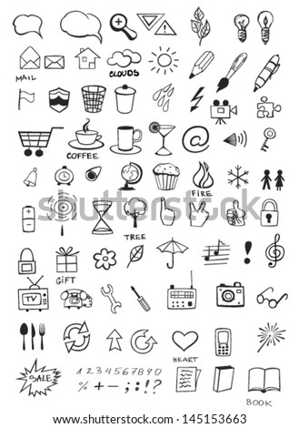 Set of various hand drawn icons - stock vector