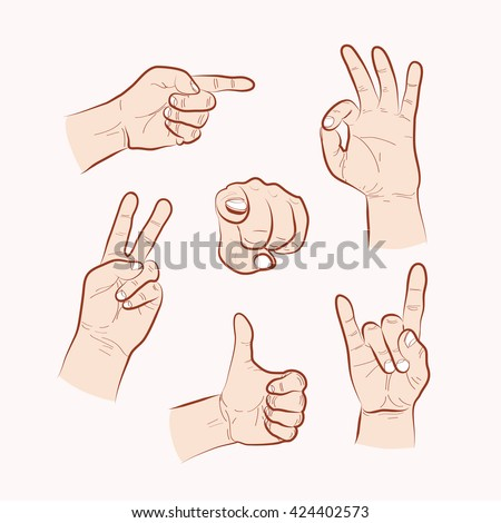 Set of various hand gestures, hand drawn outline illustration. Vector - stock vector