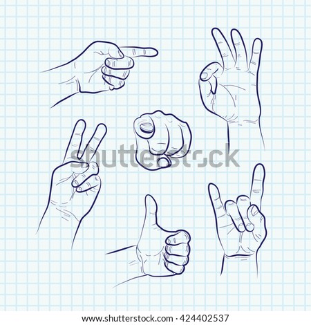 Set of various hand gestures, hand drawn sketch. Vector - stock vector
