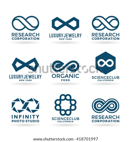 Set of various infinity symbols and logo design elements (8) - stock vector