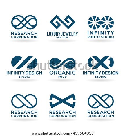 Set of various infinity symbols and logo design elements (9) - stock vector
