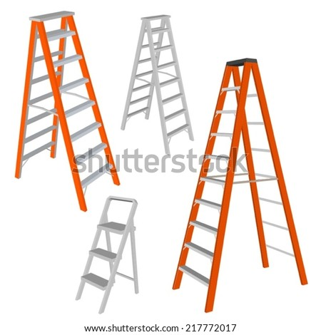 Set of various ladders on white background - stock vector