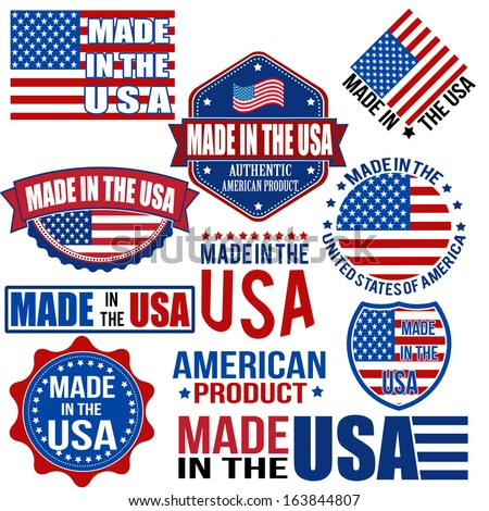 Set of various Made in the USA graphics and labels on white, vector illustration - stock vector