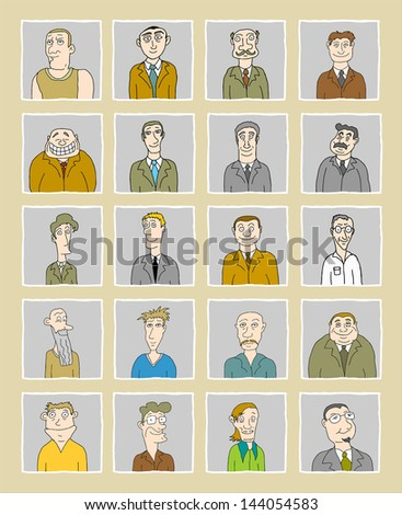 Set of various male doodle faces / avatars - one from the series of similar images - stock vector