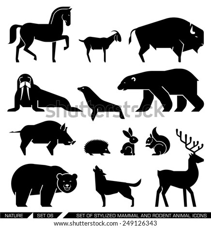 Set of various mammals and rodents: horse, goat, bison, seal, walrus, Arctic bear, bear, wild boar, hedgehog, rabbit, squirrel, wolf, deer,. Vector illustration. - stock vector