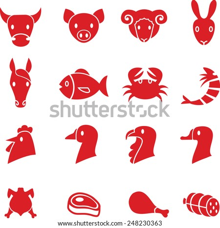 Set of various meat animals icons vector - stock vector