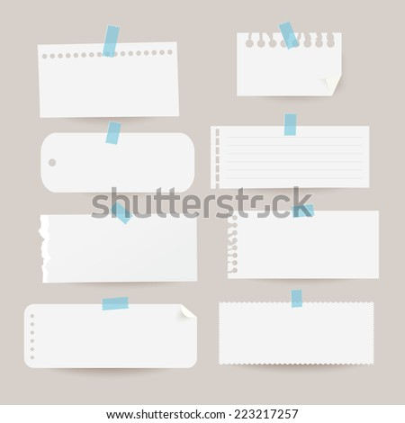 Set of various note papers. Vector illustration.  - stock vector