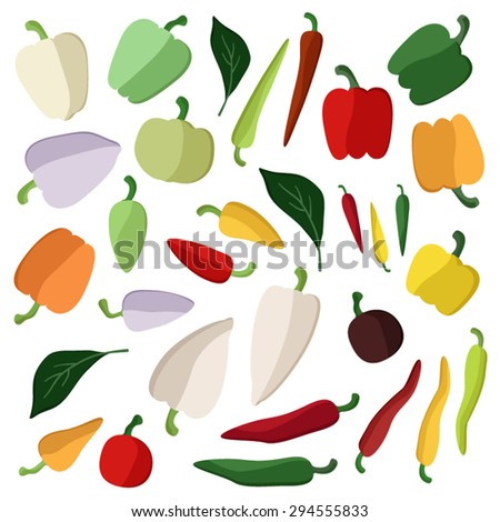 Set of various peppers vector illustration - stock vector