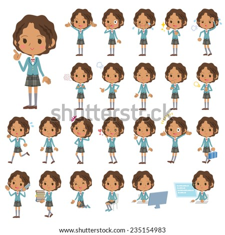 Set of various poses of Black's schoolgirl. - stock vector