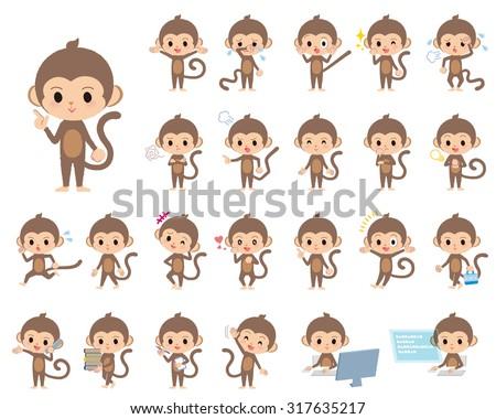 Set of various poses of Children's monkey - stock vector