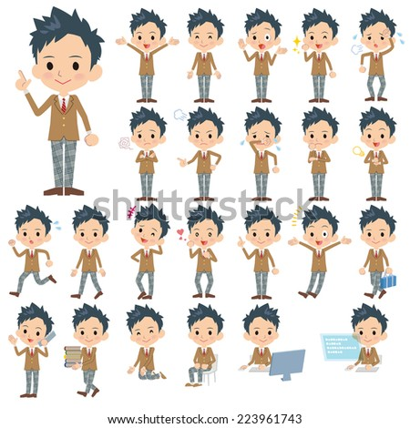 Set of various poses of Schoolboy - stock vector
