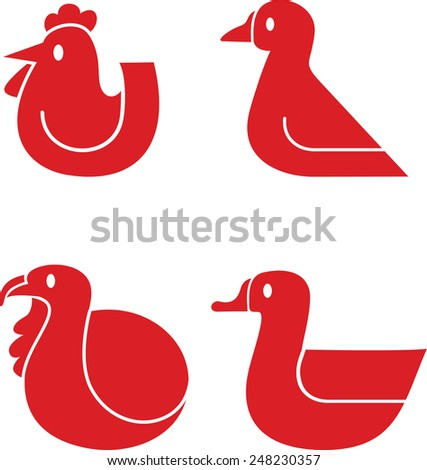 Set of various poultry vector icons - stock vector