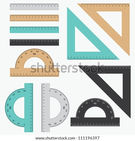 Set of various rulers on the white background. - stock vector
