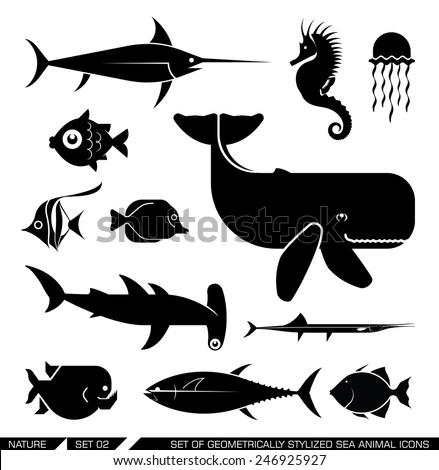 Set of various sea animal icons: Whale, hammerhead shark, swordfish, piranha, seahorse, fish. Vector illustration. - stock vector
