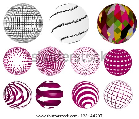 Set of various spheres - stock vector