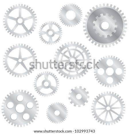Set of various steel gear wheels on the white background. - stock vector